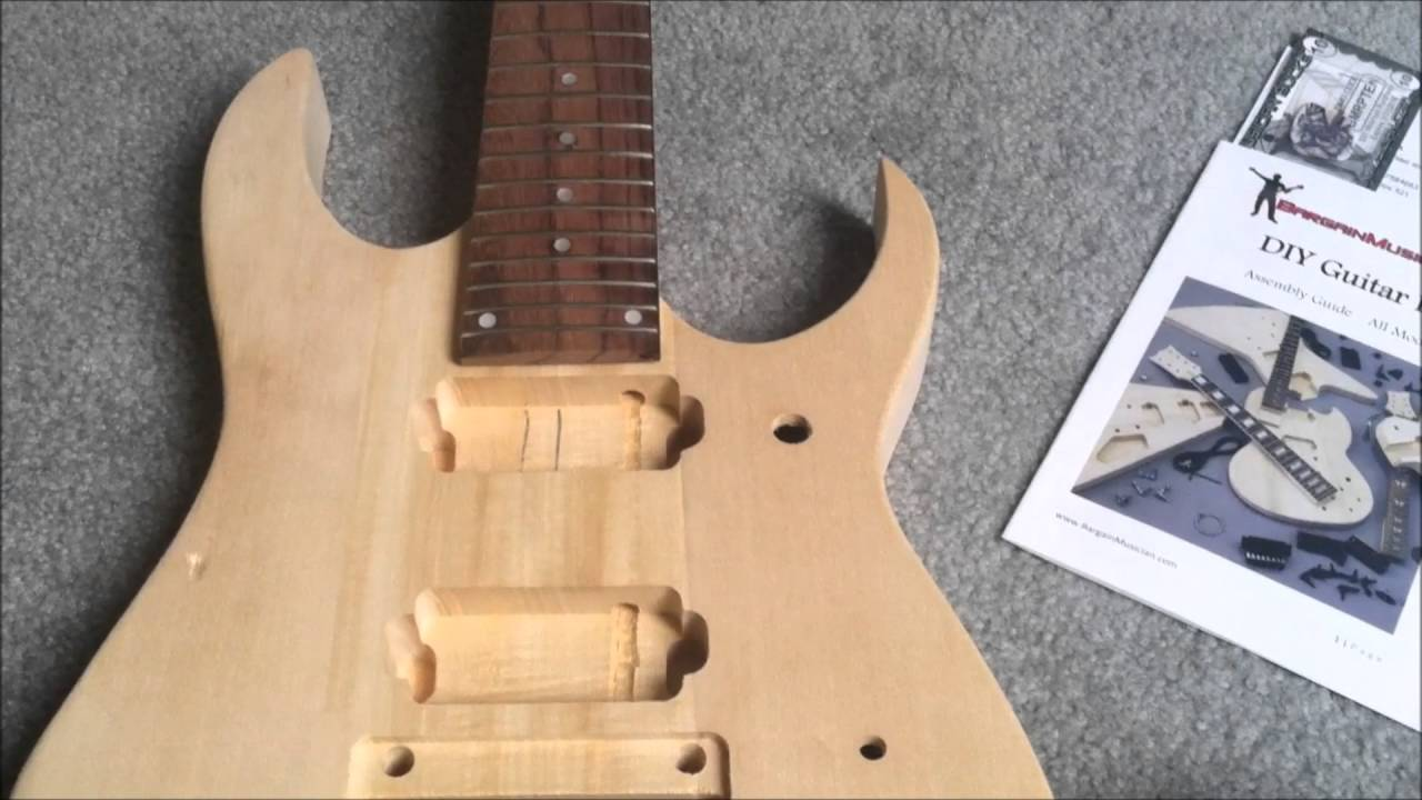 DIY 7 String guitar kit unboxingreview (Ibanez Style from
