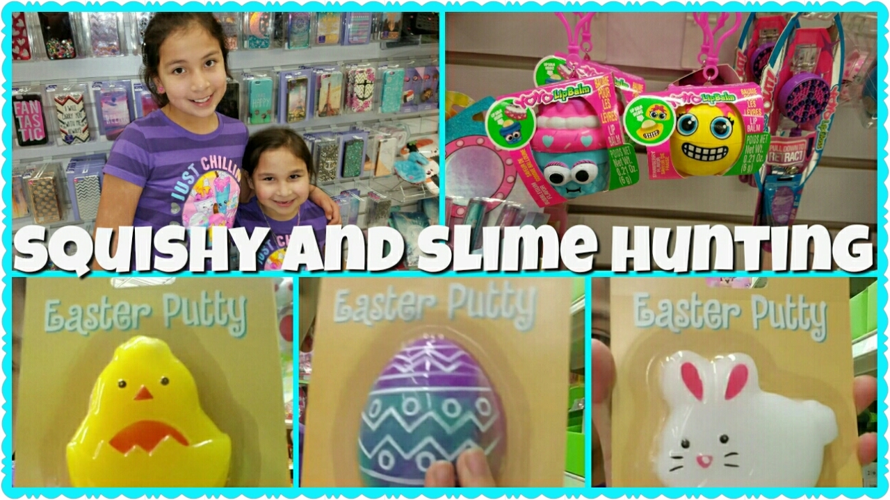 TOY S R US SQUISHY AND SLIME HUNTING (galaxy egg slime, chick slime, bunny slime) - YouTube