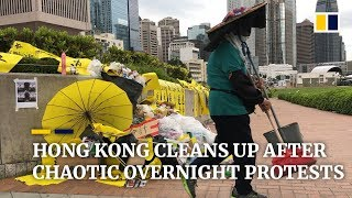 Hong Kong cleans up after a citywide rampage with clashes between police and protesters