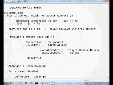 Java 8   MS Access  database connection  insert record java program