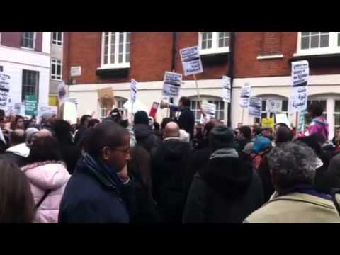 Demonstration At The Egyptian Embassy In London