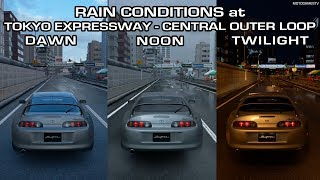 Gran Turismo Sport - Rain Conditions at Tokyo Expressway - Central Outer Loop Comparison