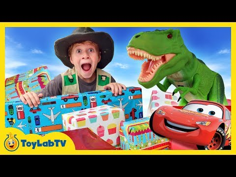 GIANT SURPRISE TOYS FOR T-REX! Dinosaur Toy Hunt Disney Cars 3 Movie Lightning McQueen Kids Unboxing