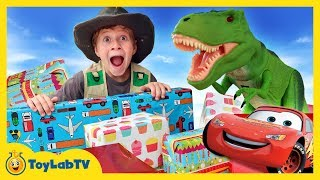 Giant Surprise Toys for T-Rex! Dinosaur Toy Search with Cars 3 Toys in Family Fun Video for Kids