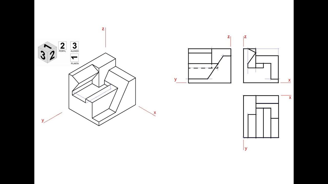 Vistas de una pieza en isom trico animaci n 3d youtube for Plano de planta dibujo tecnico