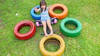 APRENDENDO CORES | Learn Colors for Kids with Color Tire Educational video for Children Songs lernen