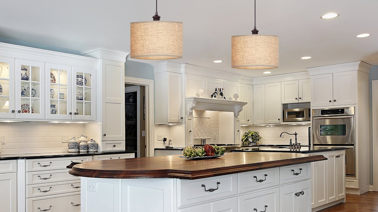 Modern White Cabinets Kitchen Convert Recessed Lights Into Pendant Lights Youtube