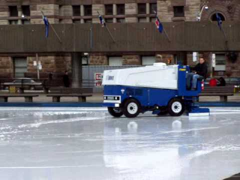 Zamboni at the Nathan Phillips Square outdoor ice rink ...