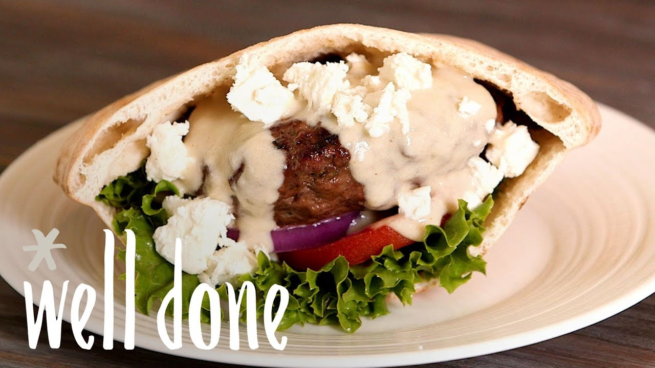 Gyro Burgers With Tahini Sauce Take You Away To Greece Recipe Well Done Youtube