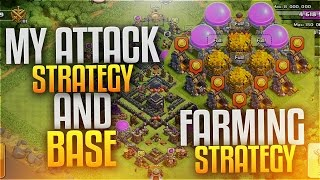 CLASH OF CLANS - TOWNHALL 9 FARMING ATTACK STRATEGY & MY BASE