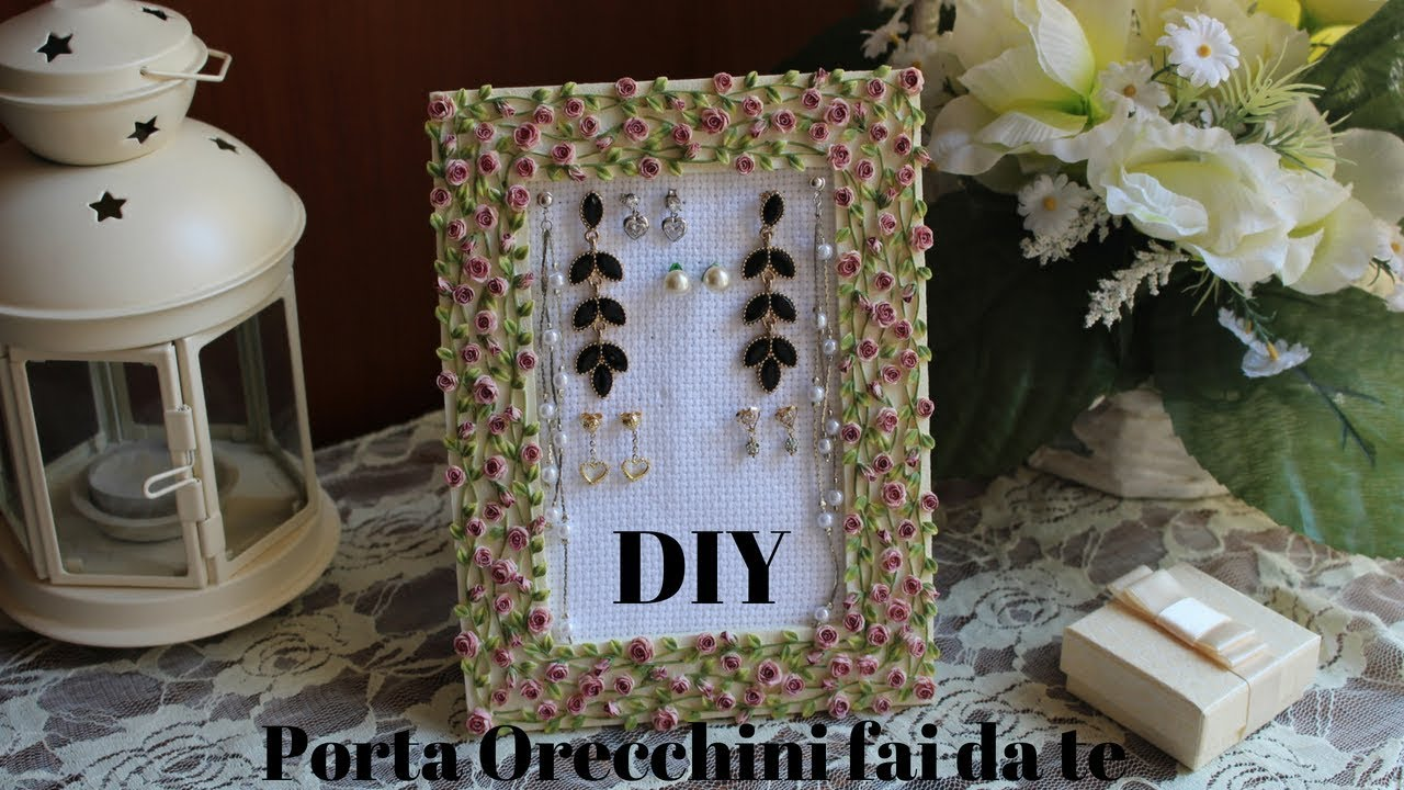 Idee Per Porta Orecchini tutorial: porta orecchini fai da te - diy earrings holder