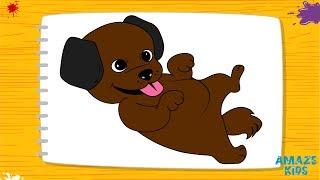 Как Нарисовать Животных - Собаку для Детей🐶Рисунки Своими Руками👌Уроки Рисования для Начинающих🖌️