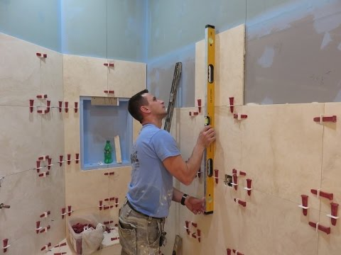 "part-""2""-travertine-tile-installation-on-bathroom-walls-""-t-lock™-leveling-system-"""