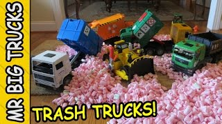 blue bruder toy trash truck dozer for kids mrbigtrucks101