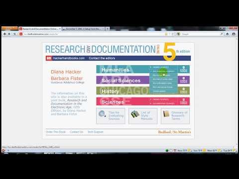 MLA citation how to using Diana Hacker's website