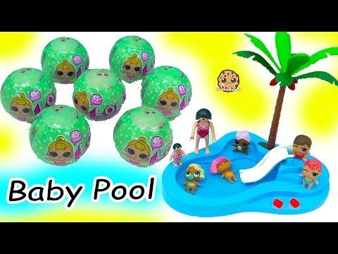 LOL Surprise Lil Sisters Babies Blind Bag Balls Color Change + Swim in Baby Water Pool