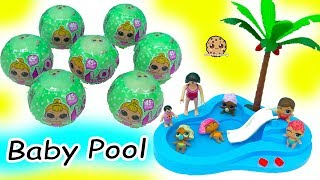 LOL Surprise Lil Sisters Babies Blind Bag Balls Color Change + Swim in Baby Water Pool