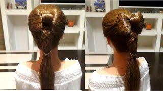 Прическа на выпускной,вечерняя прическа. Бант из волос. Evening prom hairstyle