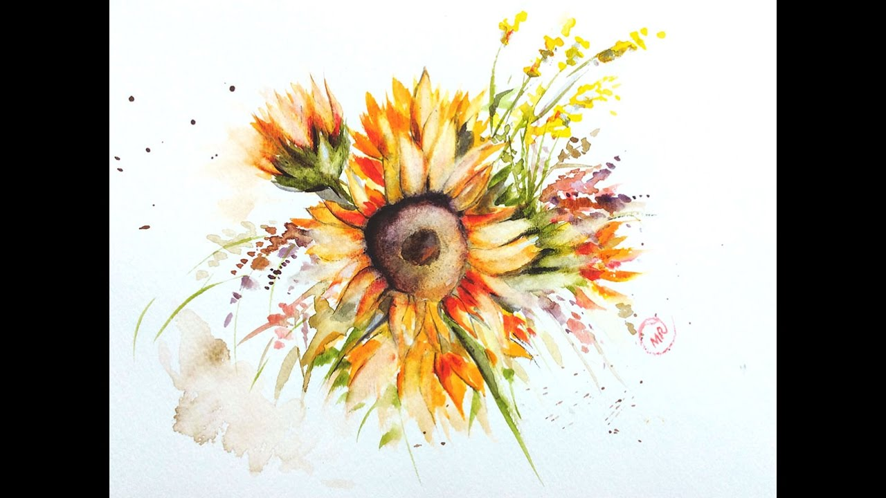 b9620144645 Watercolor Sunflower Painting Demonstration - YouTube