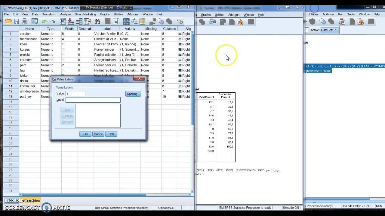 Kvantitativ metode. SPSS - frekvenstabel, omkodning, index