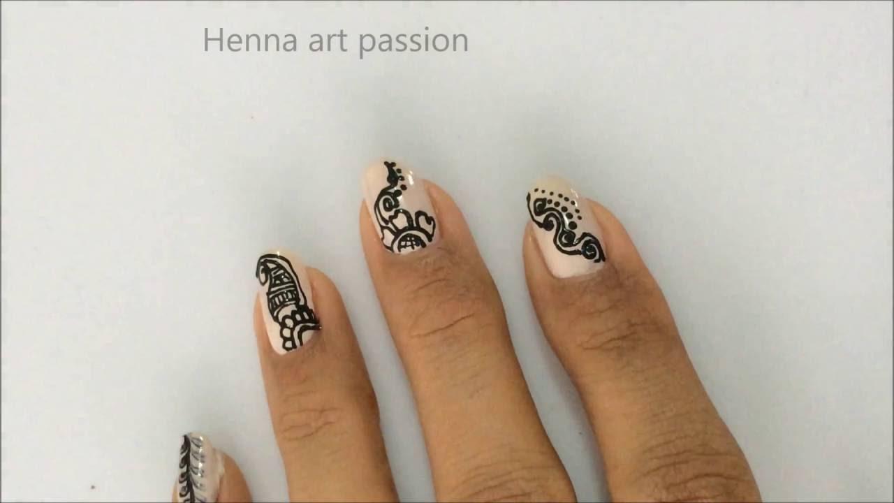 DIY  Henna/ mehendi inspire simple lacy nail art