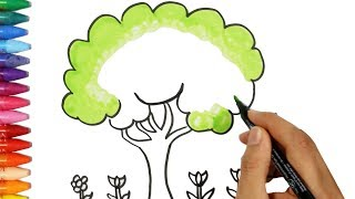 Как рисовать дерево - Большое дерево раскраска - Как покрасить дерево - Как рисовать и цвет