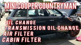 How to Mini cooper countryman oil change, transmission flush oil change, cabin air filter