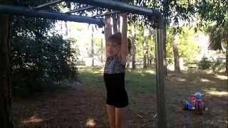 Super Abigail 3 year old gymnast first press handstand