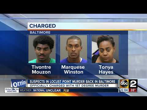 Suspects in Locust Point murder back in Baltimore and officially charged with murder