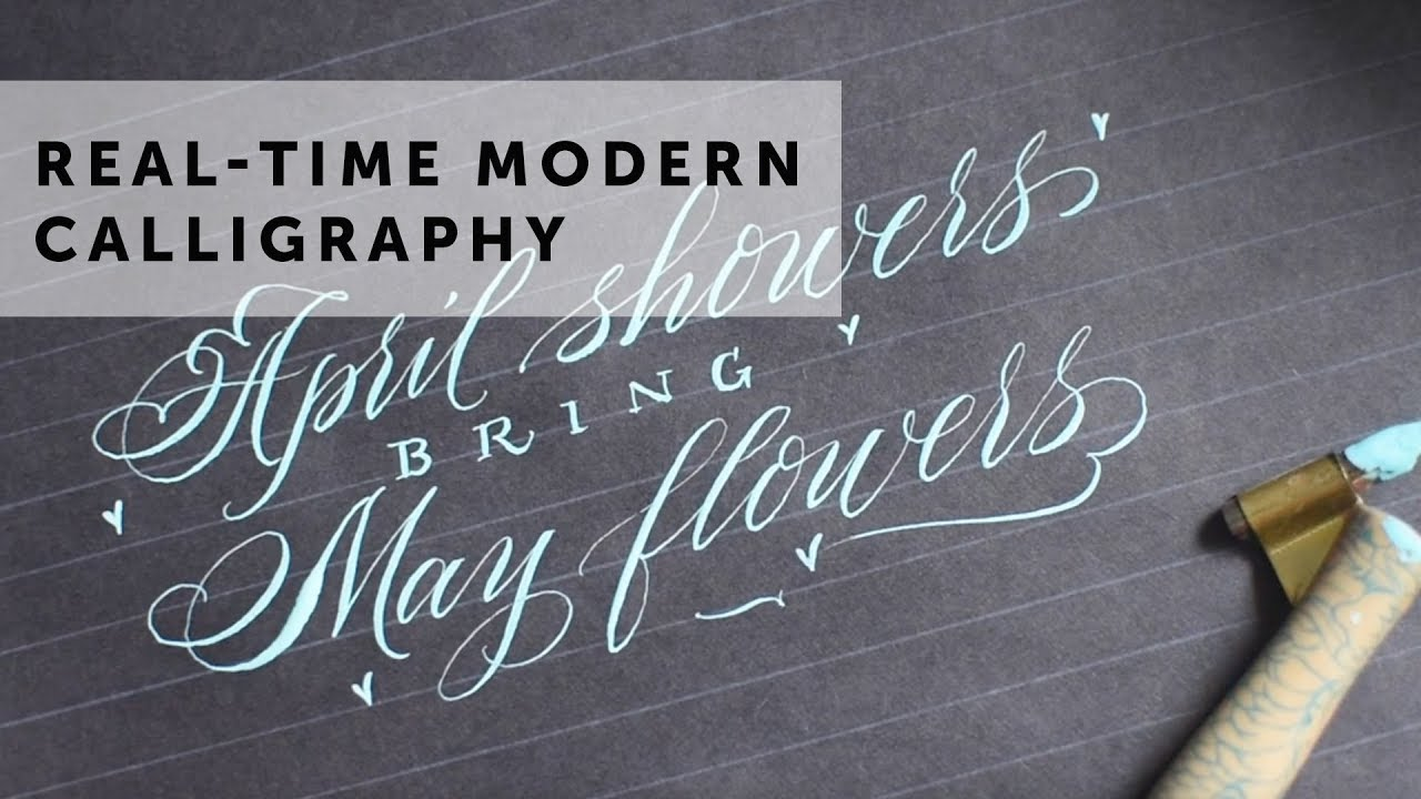 April showers bring may flowers modern calligraphy flourishing