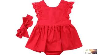 Baby Girls Red Romper Dresses Toddler Jumpsuit Lace Backless Vestido Dress FREE SHIPPING!