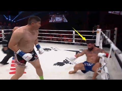 40战35胜强敌激怒200斤中国拳王,结果被4次击倒KO,日本裁判看怕了