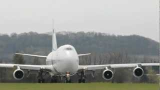 Start Boeinga 747-400 El Al z Balic / Boeing 747-400 take-off from Kraków-Balice airport 17.04.2012