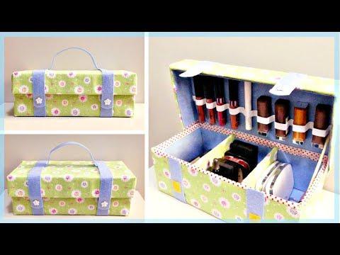 DIY ORGANIZER BAG: How to Make a Cosmetic Organizer Bag from Shoe Box