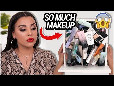 another lengthy MAKEUP DECLUTTER! MAKEUP IM THROWING OUT 2019! | MakeupByAmarie thumbnail