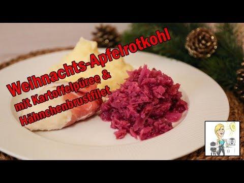 Weihnachts Apfelrotkohl Mit Kartoffelpuree Und Hahnchenbrust Mit Dem