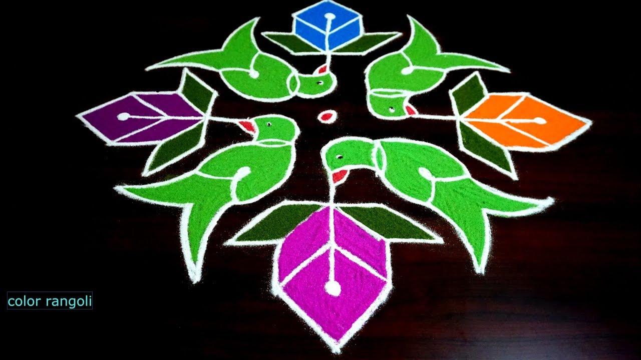 Simple Parrot Rangoli Kolam 13 1 Dots Youtube