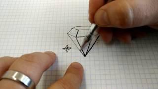 How to Draw a Diamond. Как нарисовать Бриллиант, КРИСТАЛЛ или АЛМАЗ  по клеточкам / Урок  для детей