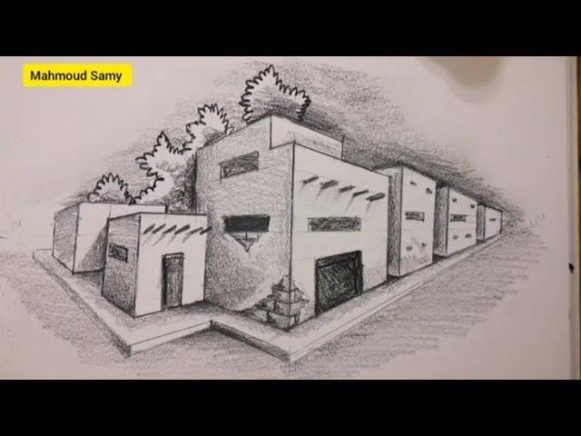 البيوت التراثية رسم بالمنظور منظور النقطتين رسم وتظليل How To Draw Perspective Youtube