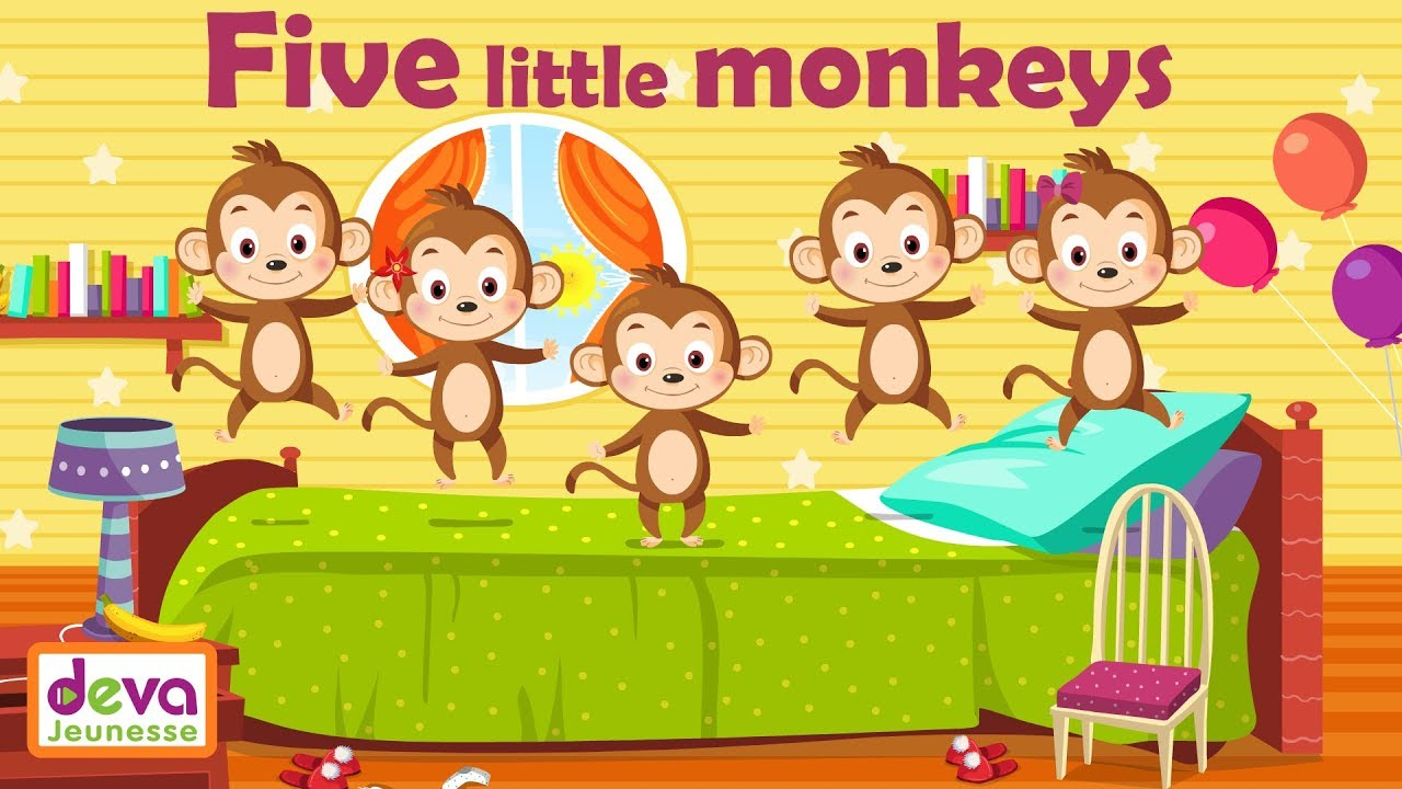 Five little monkeys jumping on the bed with lyrics ...