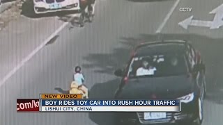 Boy in China caught on camera driving in traffic