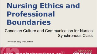 CCCN Webinar Series - Nursing Ethics and Professional Boundaries