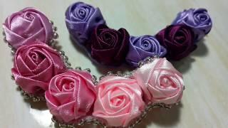 66) DIY HANDMADE || Cara Membuat Bros Mawar Deret Pita Satin | How to Make Ribbon Roses || Bros Bahu
