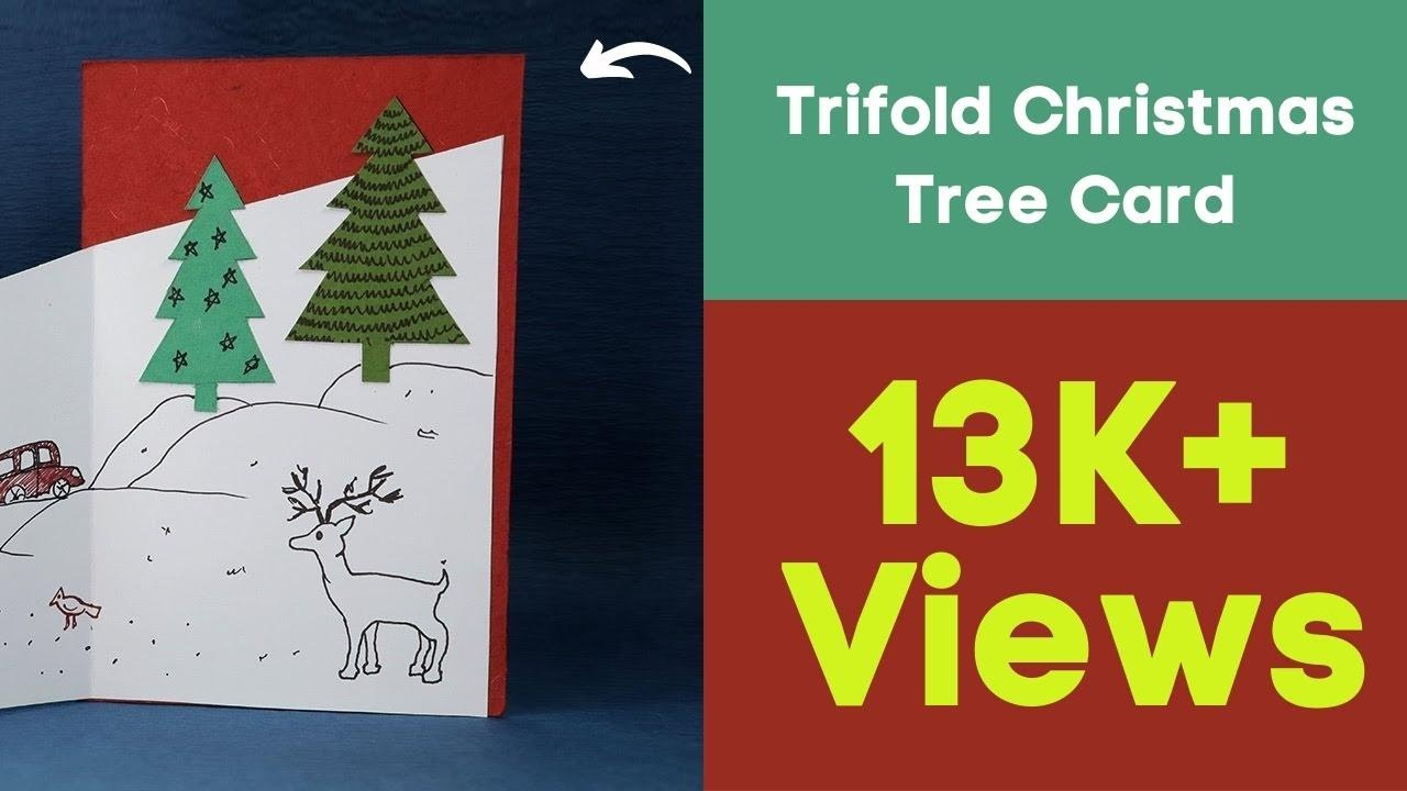 Handmade Christmas Cards Diy Trifold Christmas Tree Card Youtube