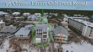 30A Seagrove Beach Aerial of 95 Chivas Gulf Front Luxury Vacation Rental