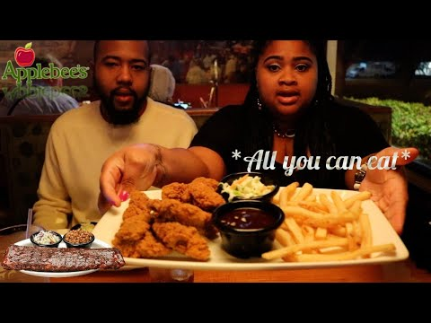 Applebee's Mukbang All you can eat Riblets Chicken Tenders