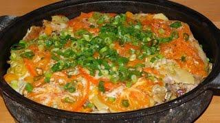 Карп запечённый с овощами в духовке (пеки на углях)
