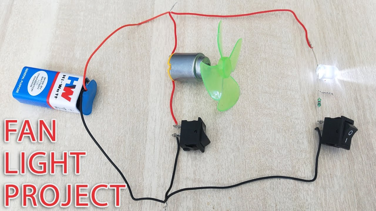 Motor Led Connection With 9v Battery And Switch