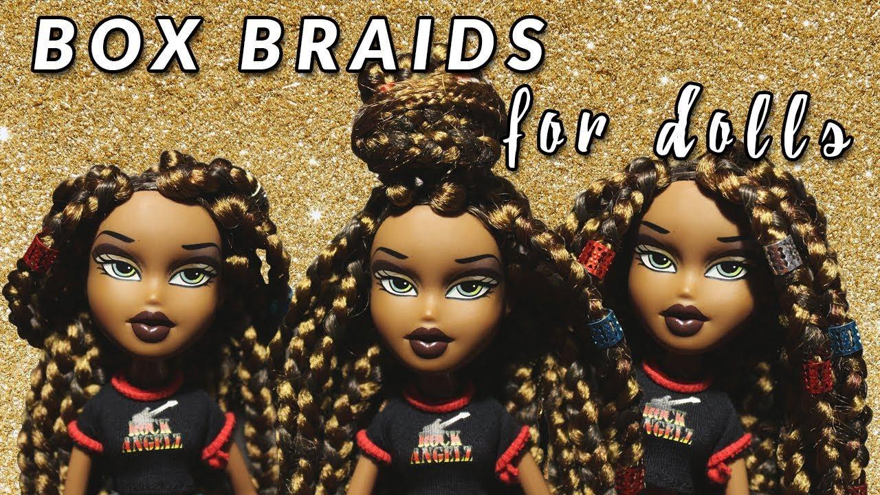 diy box braids for dolls - how to - doll hairstyles - bratz | tutorial