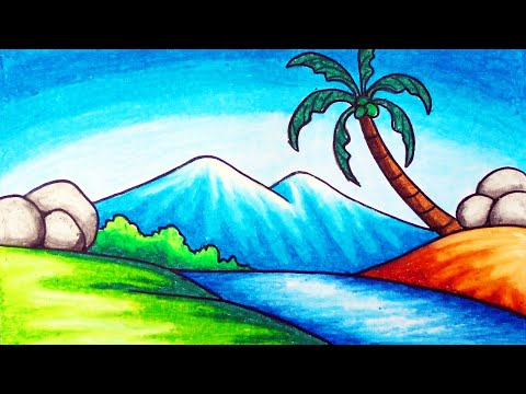 Easy Nature Scenery Drawing For Beginners How To Draw Simple Scenery Of Mountain And River Youtube